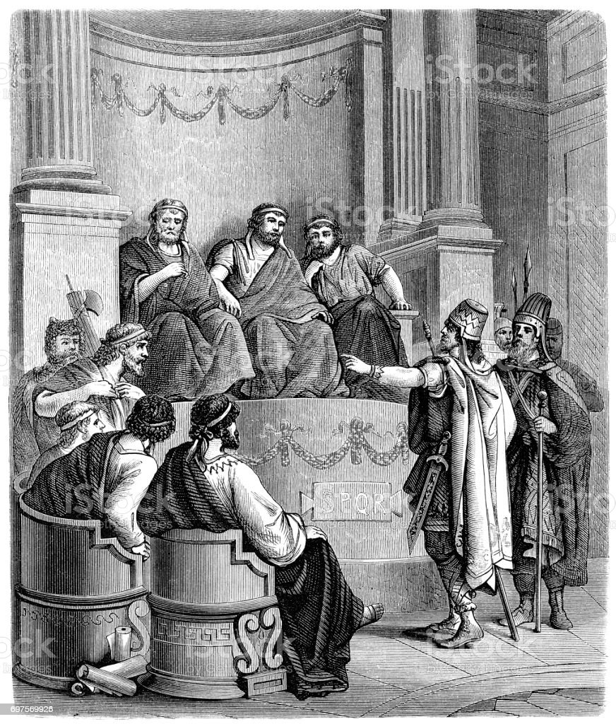 A Persian embassy before the Roman Senate vector art illustration