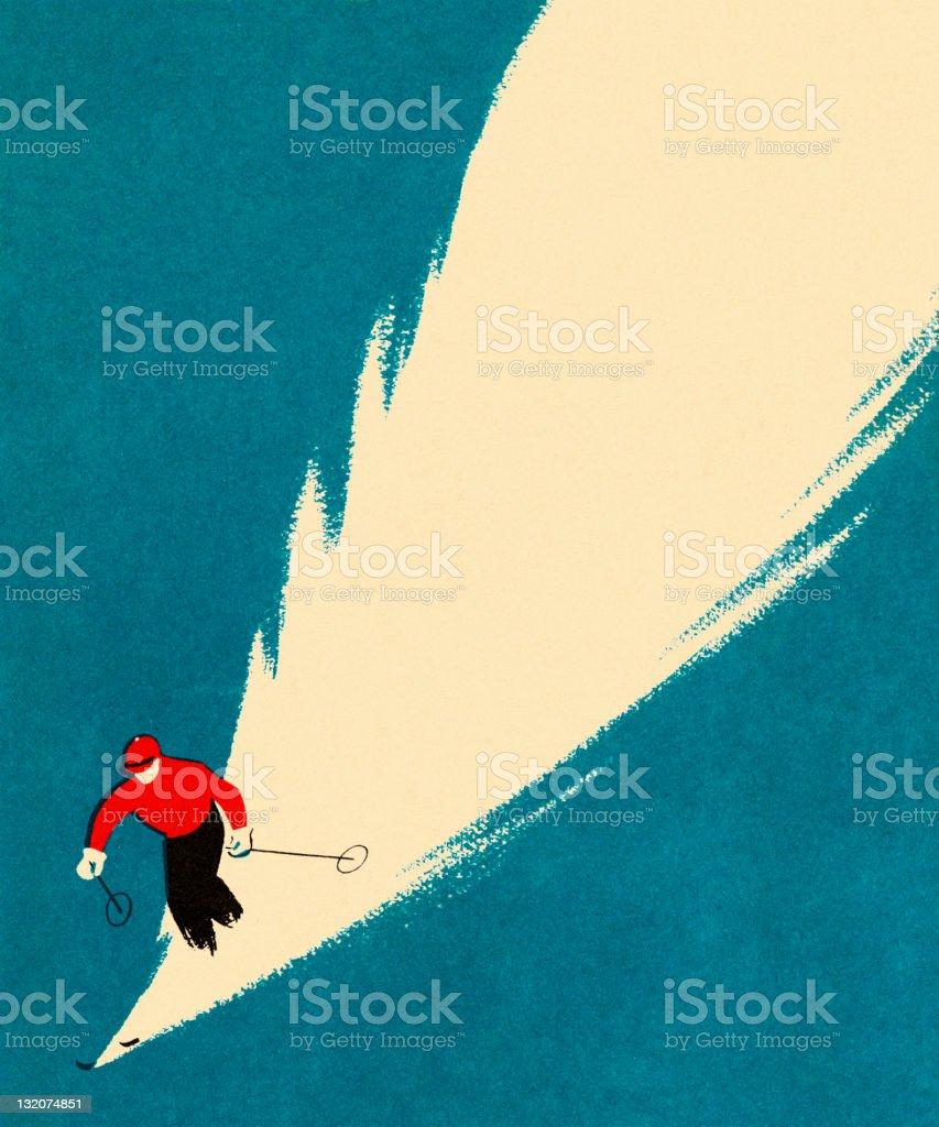 Person Downhill Skiing vector art illustration