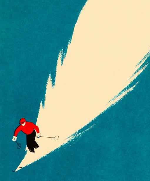 illustrations, cliparts, dessins animés et icônes de personne ski alpin - ski