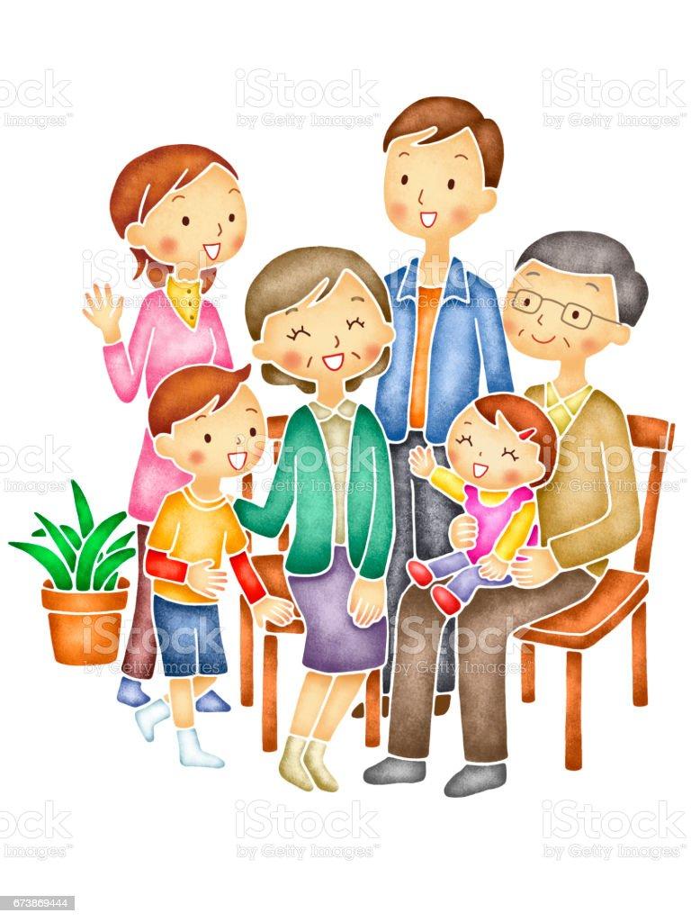 6 人家族 イラストレーションのベクターアート素材や画像を多数ご用意