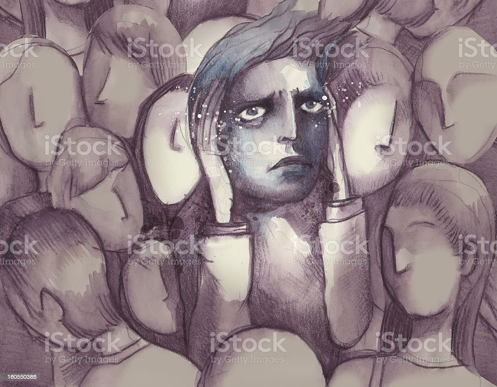 Person having a panic attack amidst a faceless crowd vector art illustration