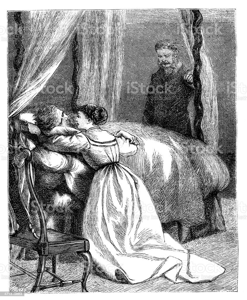 Person in sick (death?) bed with people bedside 1868 magazine royalty-free stock vector art