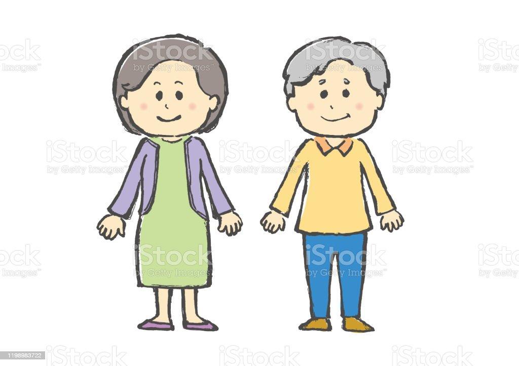 人物人シニア老人夫婦おじいさんおばあさんお爺さんお婆さん白バック白背景手描き 60代のベクターアート素材や画像を多数ご用意 Istock
