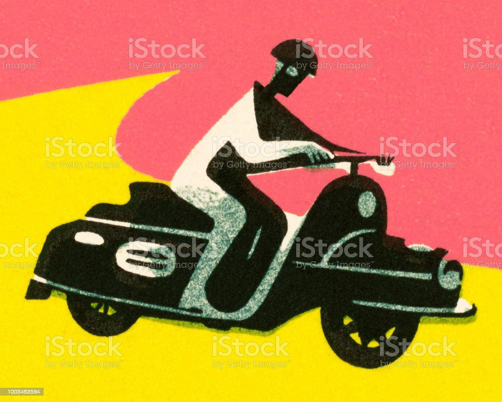 Person Riding a Scooter vector art illustration