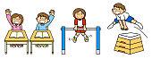 Person School Life Class Iron Bar Jump Box Physical Education Illustration