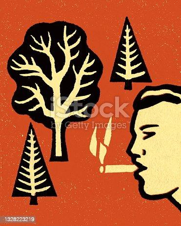 istock Person Smoking Near Trees 1328223219