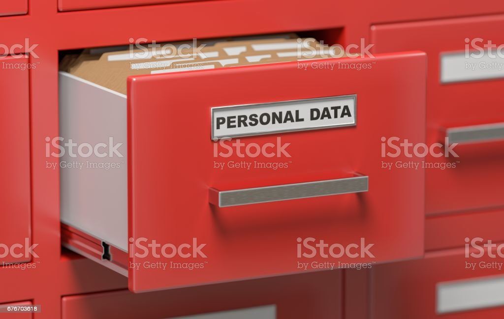 Personal data protection concept. Cabinet full of files and folders. 3D rendered illustration. vector art illustration
