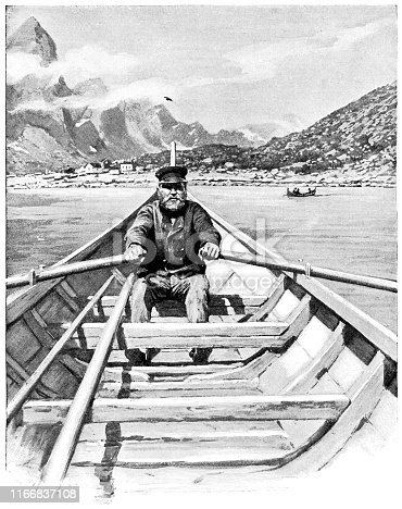 Personal Perspective of a passenger being rowed in by boat at the harbour in Svolvaer, Lofoten, Norway. Vintage etching circa late 19th century.