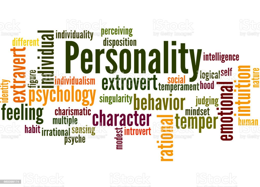 Personality, word cloud concept vector art illustration
