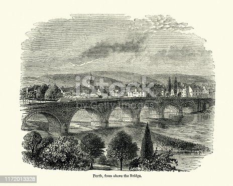 Vintage engraving of view of Perth, Scotland, 19th Century