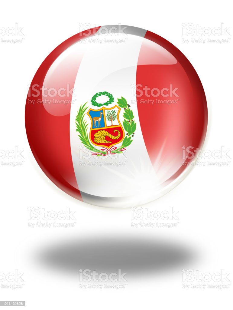 Peru button with peruvian flag isolated on white vector art illustration