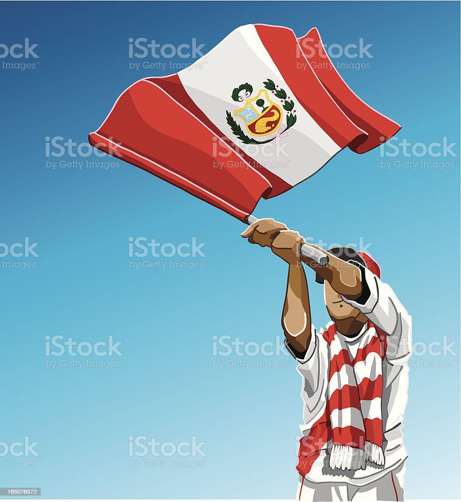 Peru Waving Flag Soccer Fan royalty-free stock vector art