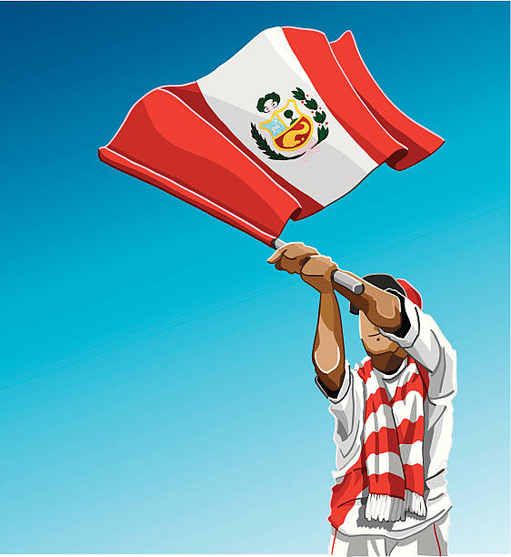 """Peru Waving Flag Soccer Fan """"Vector Illustration of a Peruvian soccer fan. The background is on a separate layer, so you can use the illustration on your own background. The colors in the .eps and .ai-files are ready for print (CMYK). Included files: EPS (v8), AI (CS2) and Hi-Res JPG."""" soccer stock illustrations"""