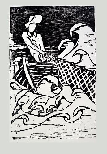 O Pescador - woodcut