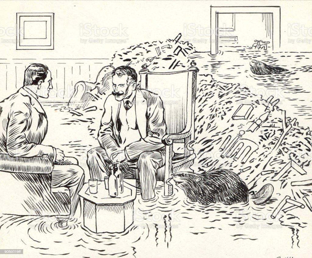 Pet Beavers vector art illustration