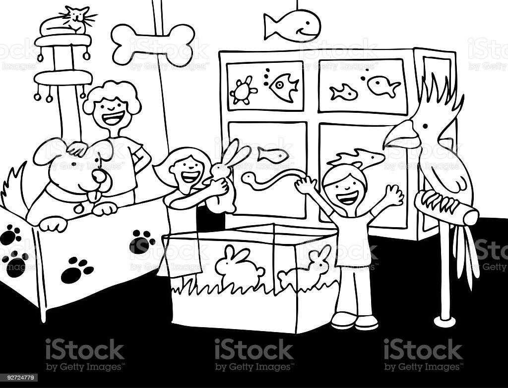 Pet Store Kids royalty-free stock vector art
