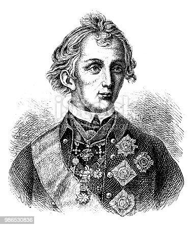 Illustration of a Peter Alexei Vasilievich Suvorov Rymnikski (born November 24, 1729 , died May 18, 1800 )
