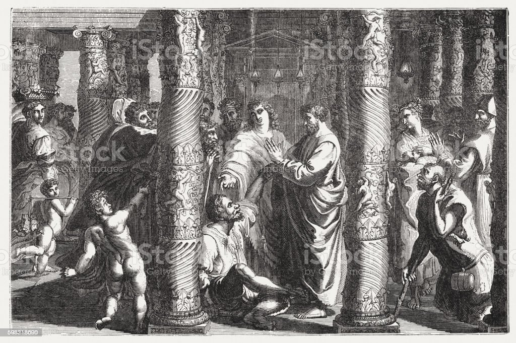 Peter and John healed a lame (Acts 3), published 1855 vector art illustration