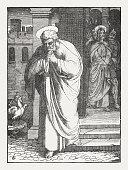 Peter denies Jesus (Luke 22, 54-62), wood engraving, published 1850