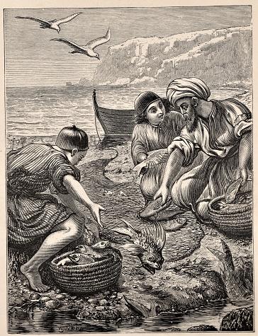 Peter, Jesus' Disciple, Gathers Fish