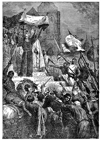 Peter the Hermit and Pope Urban II preaching The First Crusade in Clermont, France (circa 11th century). Vintage etching circa 19th century. These events led up to the Council of Clermont, and the first of the Catholic Crusades.