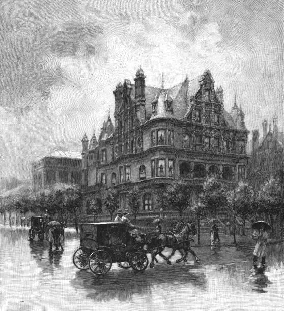 Peter Widener Mansion in Philadelphia, Pennsylvania, United States - 19th Century vector art illustration