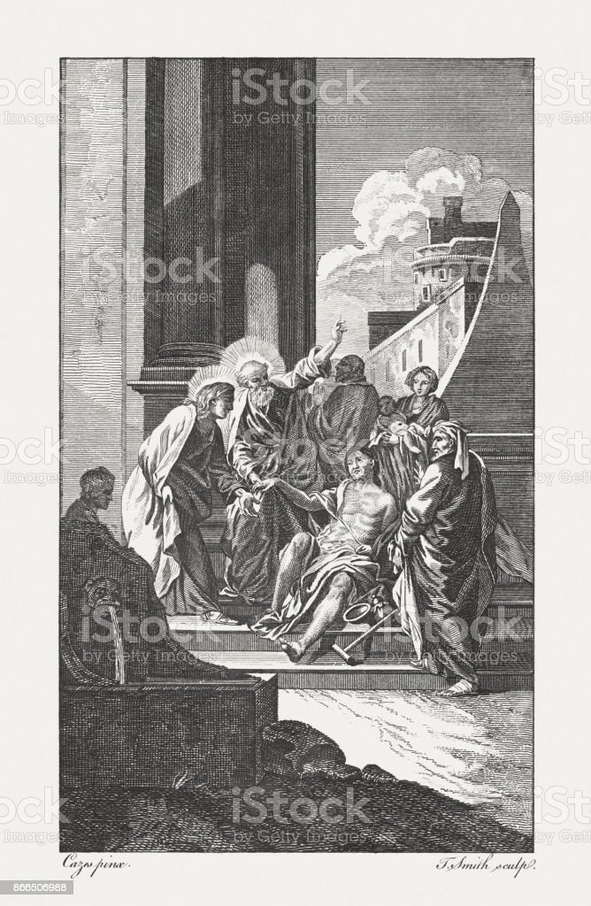 Peter, with John, healing the Lame Man (Acts 3, 7) vector art illustration