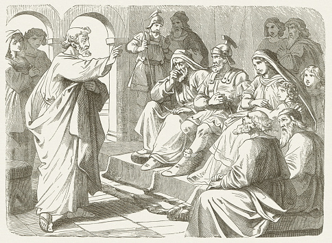 Peter's sermon at Cornelius (Acts 10), wood engraving, published 1877
