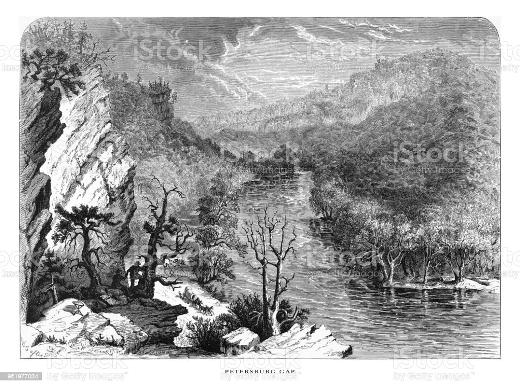 Petersburg Gap, Petersburg, West Virginia, United States, American Victorian Engraving, 1872 vector art illustration