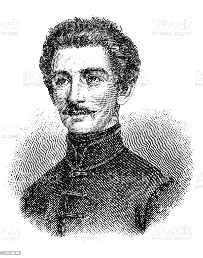 Petöfi, Sandor, 1.1.1823 - 31.6.1849, Hungarian author/writer, portrait, engraving, 19th century, birth name Alexander Petrovic vector art illustration