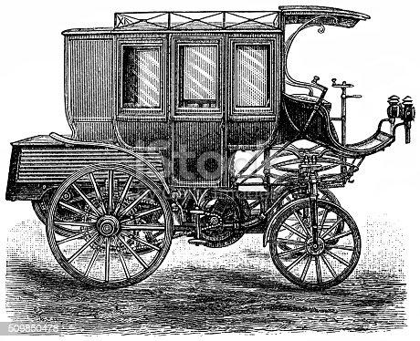 Petroleum motorcar as stagecoach