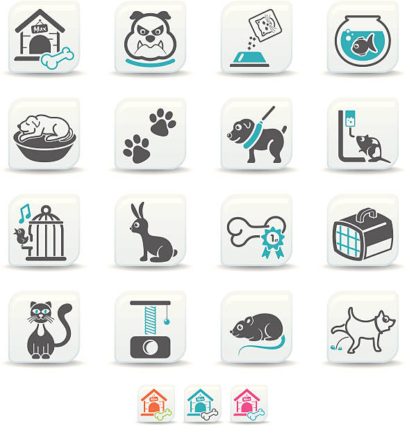haustiere symbole/simicoso kollektion - hundebetten stock-grafiken, -clipart, -cartoons und -symbole