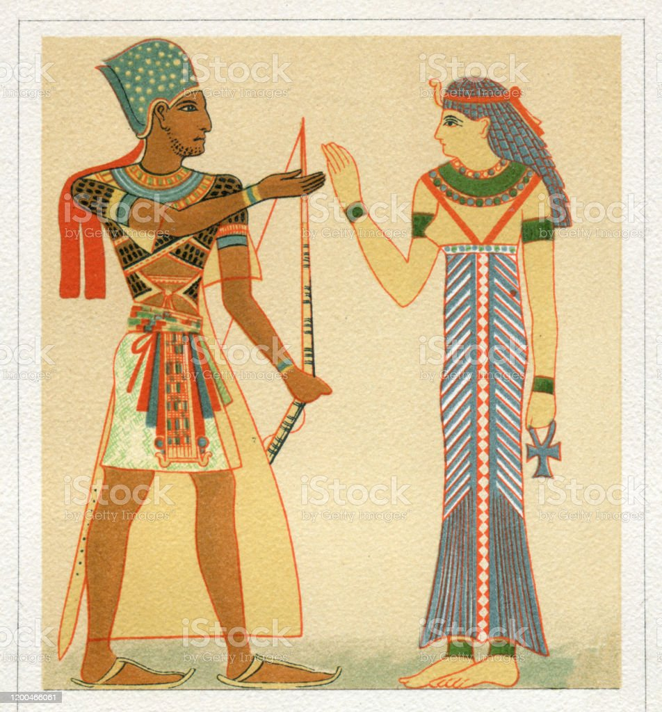 Pharaoh And Egyptian Queen In Traditional Clothing Stock Illustration Download Image Now Istock