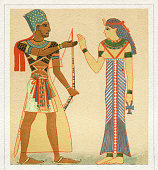 Pharaoh and egyptian queen in traditional clothing\nOriginal edition from my own archives\nSource : \