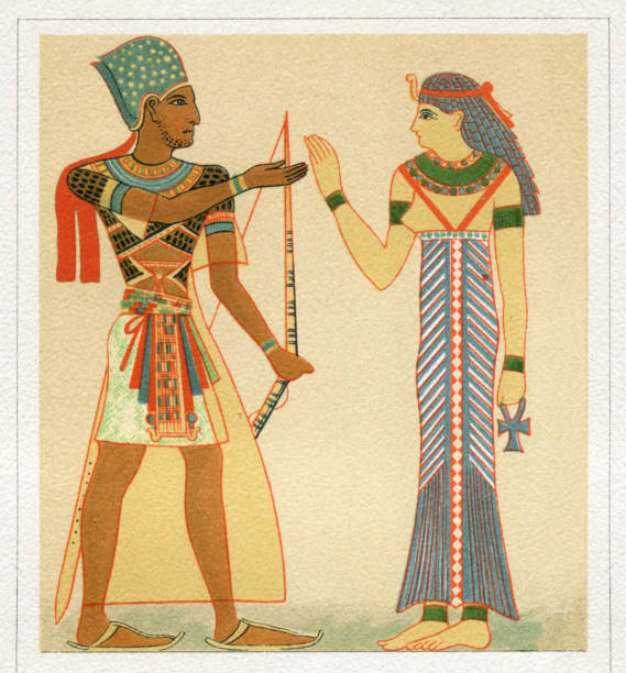 "Pharaoh and egyptian queen in traditional clothing Pharaoh and egyptian queen in traditional clothing Original edition from my own archives Source : ""Meyers Konversationslexikon Band 10"" 1897 ancient egyptian culture stock illustrations"