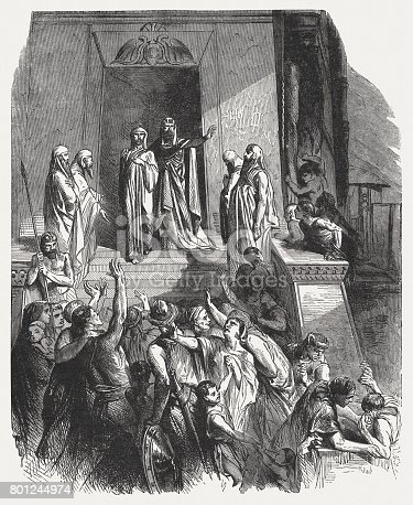 Pharaoh honors Joseph (Genesis 41). Wood engraving, published in 1886.