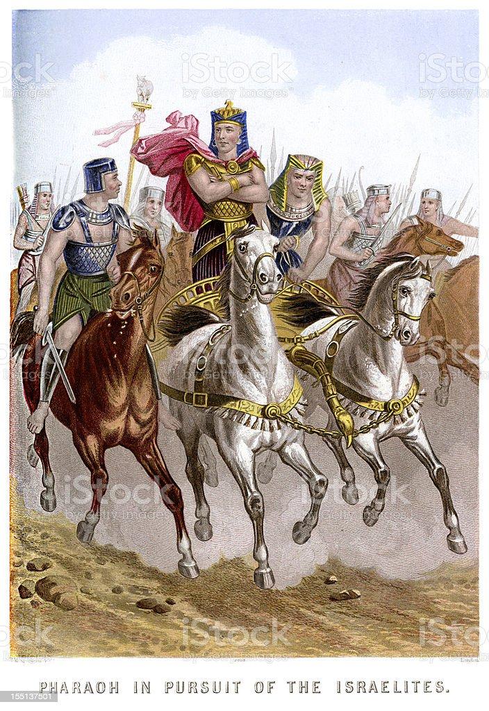 Pharaoh in pursuit of the Israelites vector art illustration