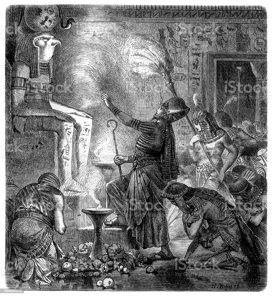 Pharaoh in the temple vector art illustration