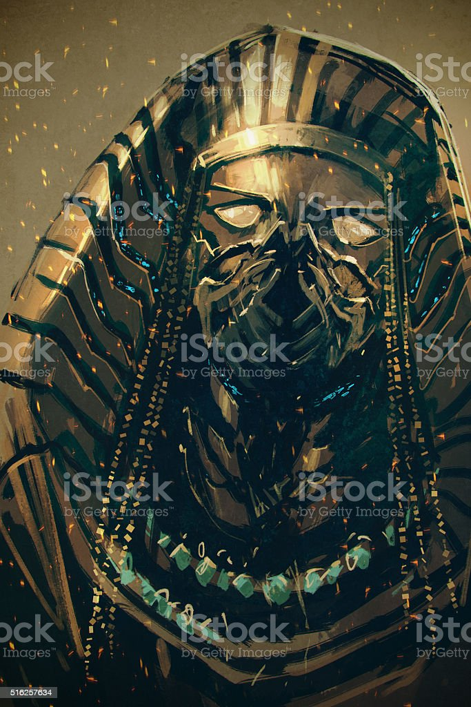 Pharaoh of Egypt,sci-fi concept vector art illustration