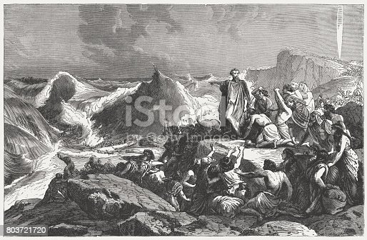 istock Pharaoh's downfall in the Red Sea (Exodus 14), published 1886 803721720
