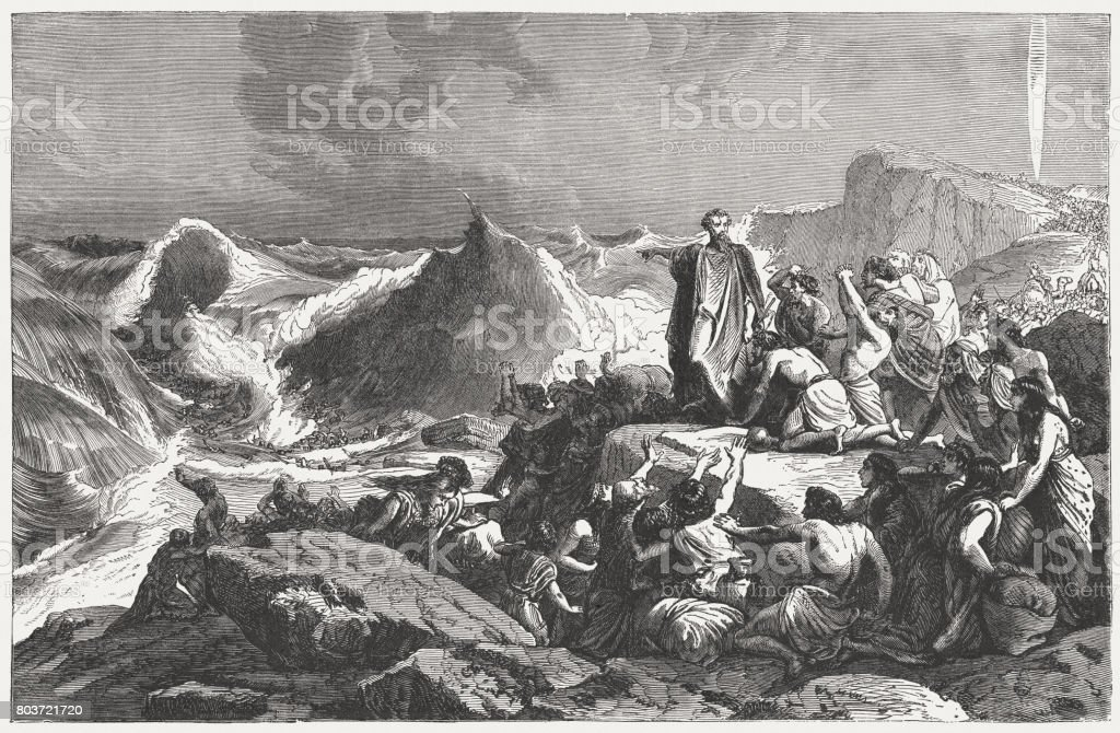 Pharaoh's downfall in the Red Sea (Exodus 14), published 1886 vector art illustration
