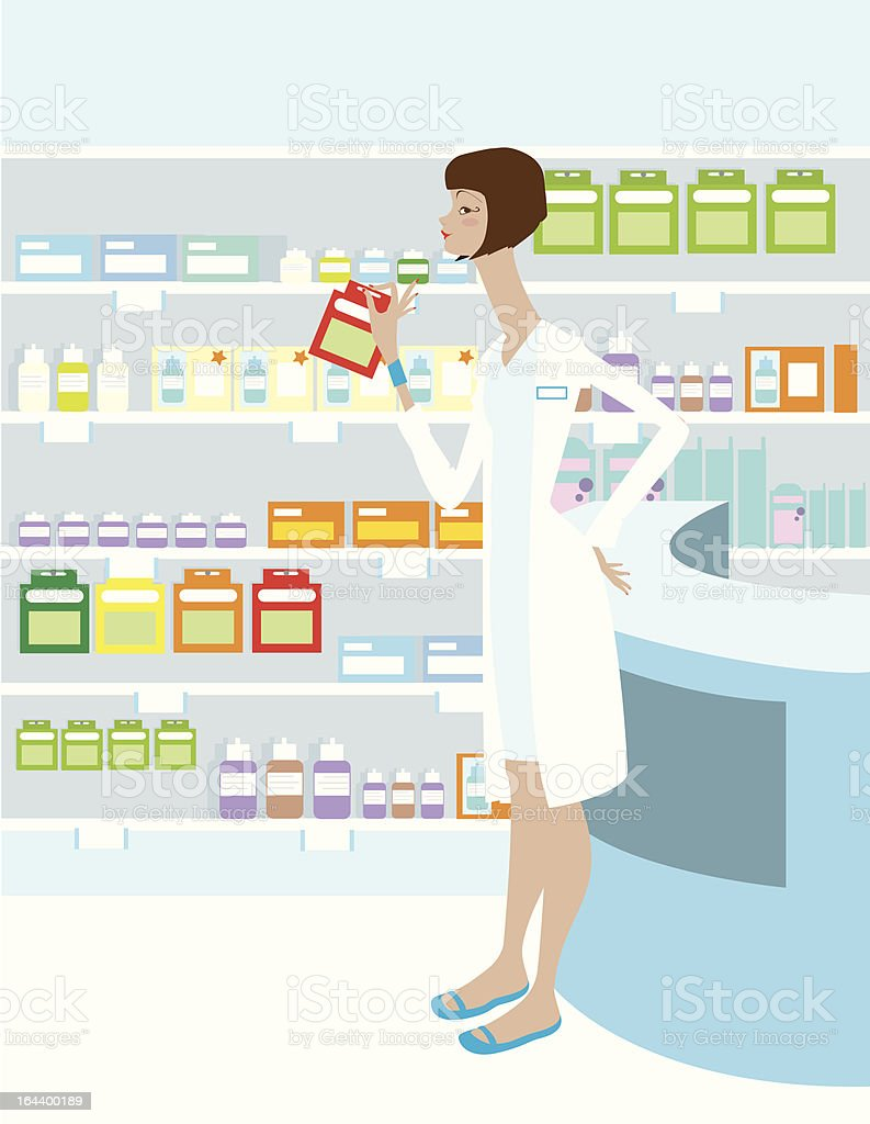 Pharmacy with Pharmacist vector art illustration