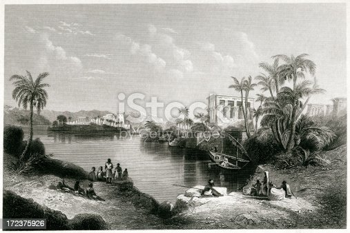 Engraving From 1882 Featuring The Philae Islands Of Egypt.