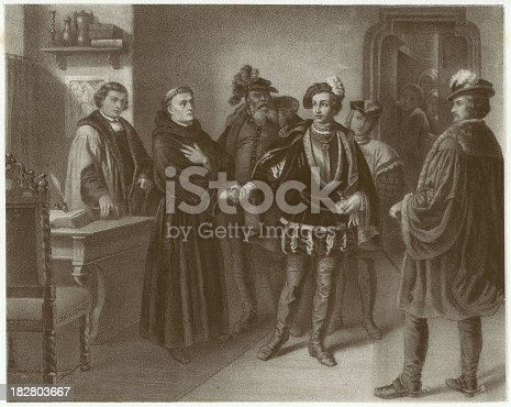 Landgrave Philip of Hesse (1504-1567) and Martin Luther meet in Worms in 1521. Philip was one of the first Protestant princes in Germany. Lithograph after an original by August Noack (German painter, 1822-1905), published in 1861.
