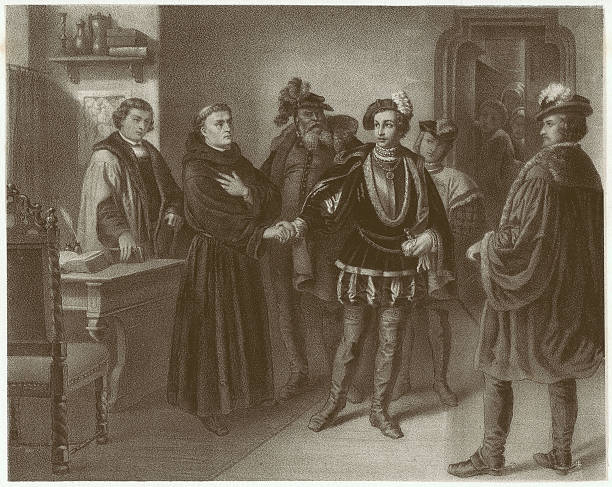 philip and luther in worms, 1521, lithograph, published in 1861 - martin luther king 幅插畫檔、美工圖案、卡通及圖標