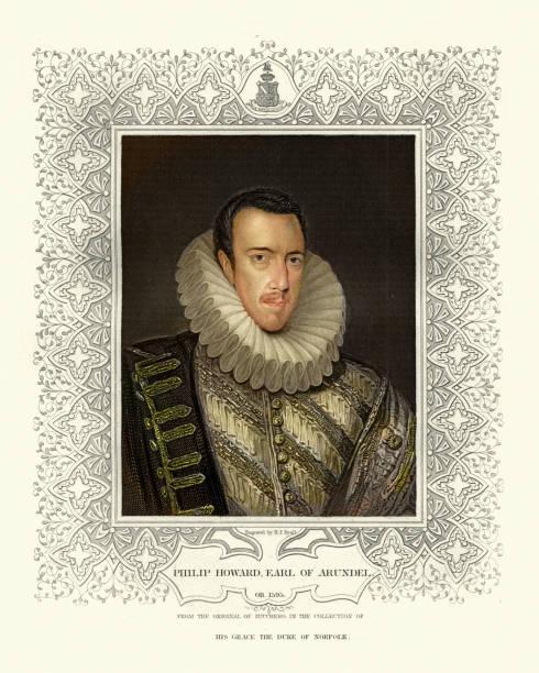 Philip Howard, 20th Earl of Arundel, English nobleman and martyr vector art illustration