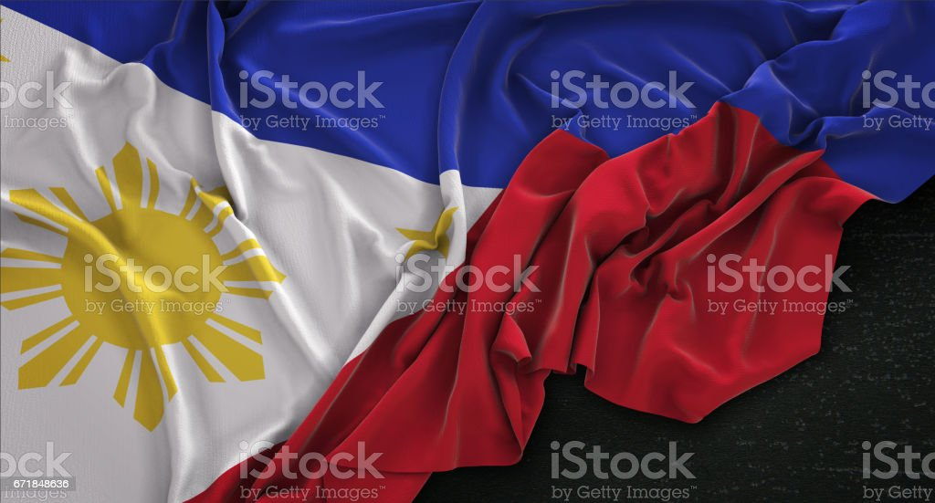 Philippines Flag Wrinkled On Dark Background 3D Render vector art illustration