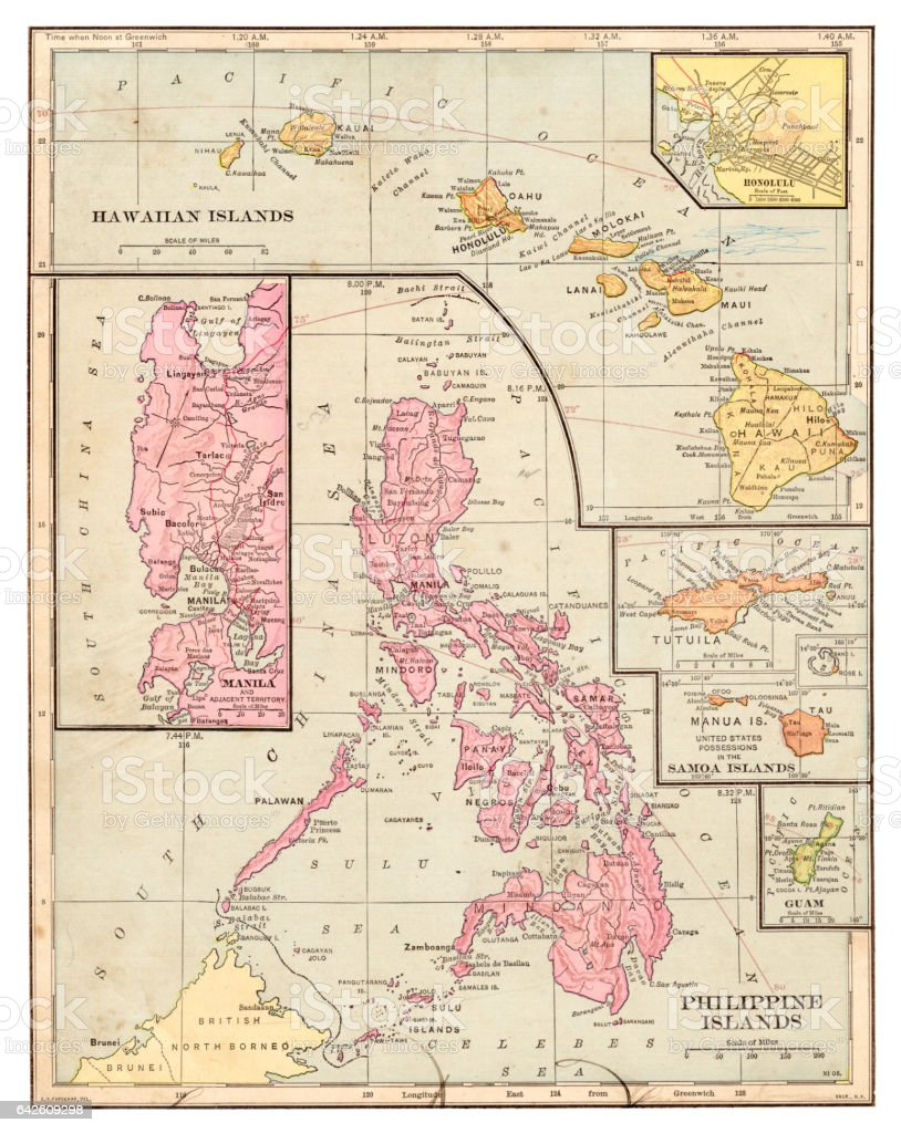 Philippines islands map 1898 vector art illustration