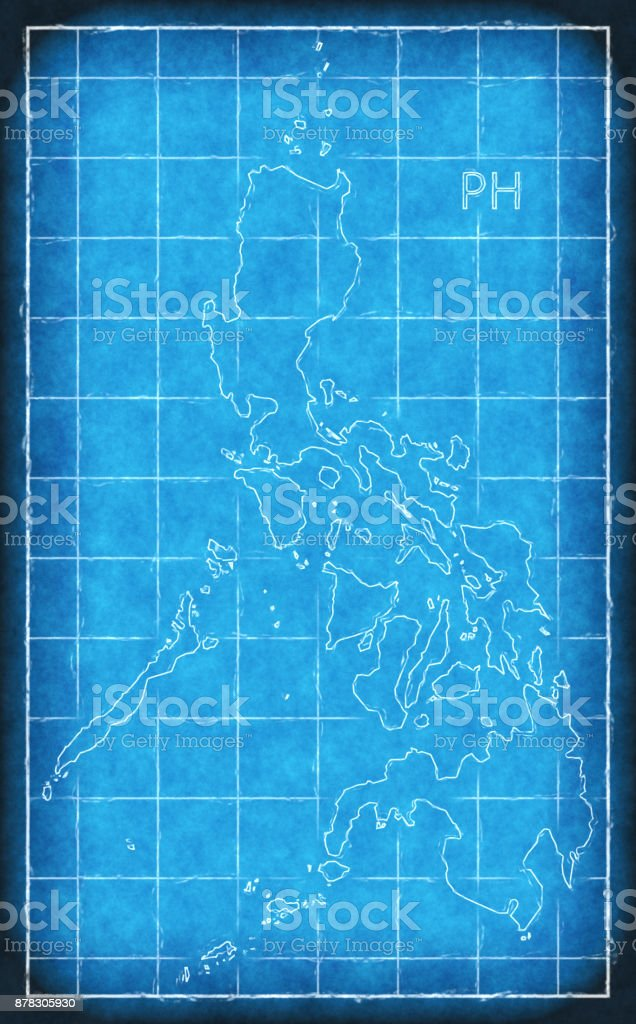 Philippines map blue print artwork illustration silhouette stock philippines map blue print artwork illustration silhouette royalty free philippines map blue print artwork illustration publicscrutiny Images