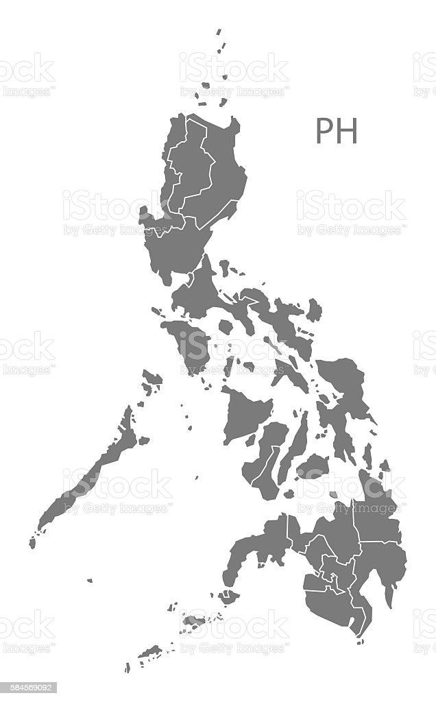 Philippines regions Map grey vector art illustration
